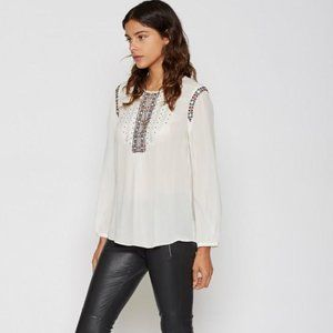 Joie Clema Cream Embroidered Peasant Silk  Blouse